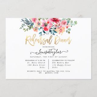 Rehearsal Dinner Red Ombre Watercolor Roses Invitations