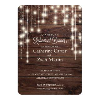 Rehearsal Dinner Rustic Wood Bistro Light Invite