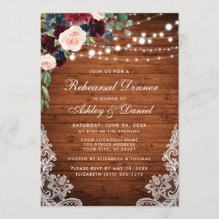 Rehearsal Dinner Rustic Wood Lights Lace Floral Invitation