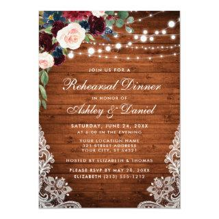 Rehearsal Dinner Rustic Wood Lights Lace Floral Invitations