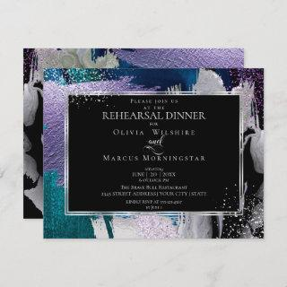 Rehearsal | Modern Shiney Bold Lilac Teal Invitations
