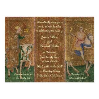 Renaissance Lady and Knight Wedding with Initials Invitation