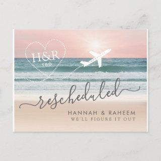 Rescheduled Beach Wedding Notification Postcard