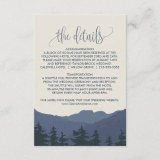 Retreat to the Mountains Wedding Details Card