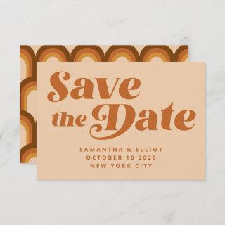 Retro 70s Typography Rainbow Pattern in Brown  Save The Date