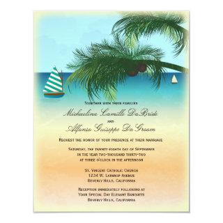 Retro Beach Scene Formal Wedding Invite