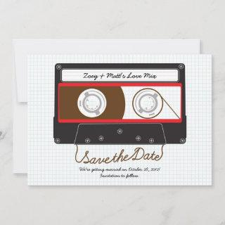 Retro Indie Mixtape Wedding Red, Black & White Save The Date