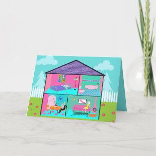 Retro Living Dollhouse Greeting Card