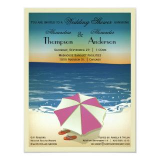 Retro Post Card Inspired Beach Scene Invite