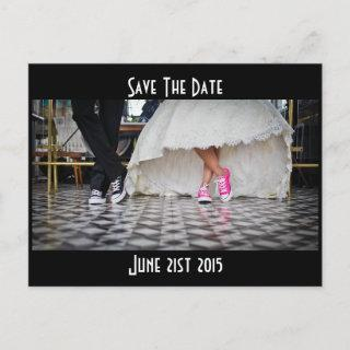 Retro Style Diner Wedding Couple Save the Date Announcement Postcard