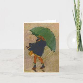 Retro Vintage Shower Umbrella Blank Note Cards