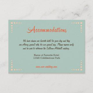 Retro Vinyl Record Sky Blue Wedding Accommodations Enclosure Card
