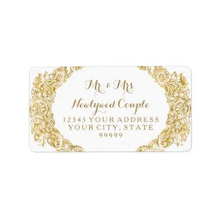 Return Address Faux Gold Glitter Engraving Label