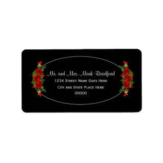 Return Labels, Wide, Red Rose Wedding Collection Label