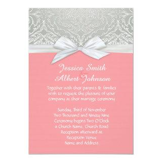 Ribbon Coral/Silver Lace Damask Wedding Invite