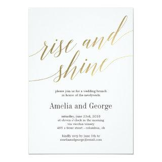 Rise and Shine Wedding Brunch Faux Gold Script Invitations
