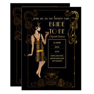 Roaring 20s Flapper Art Deco Gatsby Bridal Shower Invitations