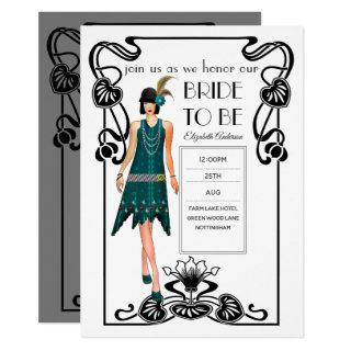 Roaring 20s Flapper Art Deco Gatsby Bridal Shower Invitation