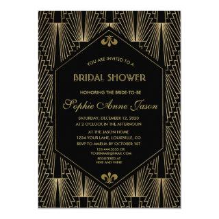 Roaring 20s Great Gatsby Art Deco Bridal Shower Invitation