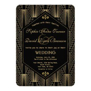Roaring 20s Great Gatsby Vintage Art Deco Wedding Invitations