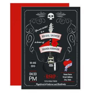 Rock and Roll Chalkboard Bridal Shower Invitation