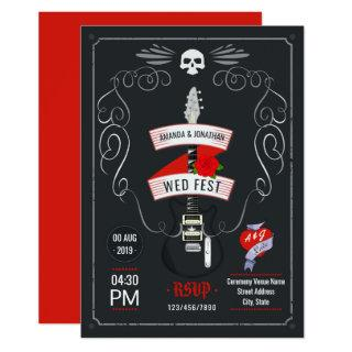 Rock and Roll Wedding chalkboard Invitations