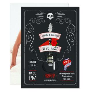 Rock and Roll Wedding chalkboard photo Invitation