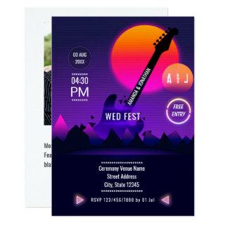 Rock and Roll Wedding Photo Invitations