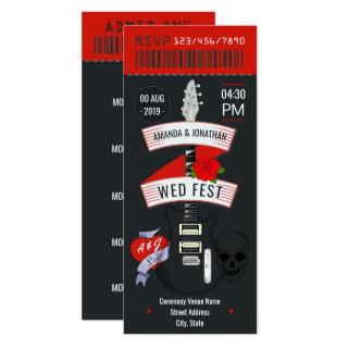 Rock n' Roll Wedding ticket custom Invitations