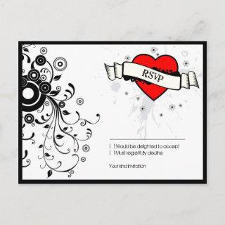 Rock & Roll Grungy Heart Music Themed Wedding Invitation Postcard