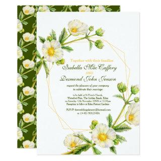 Rock rose watercolor art white green wedding Invitations