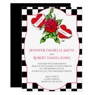 Rockabilly Hearts and Rose Wedding Invitations