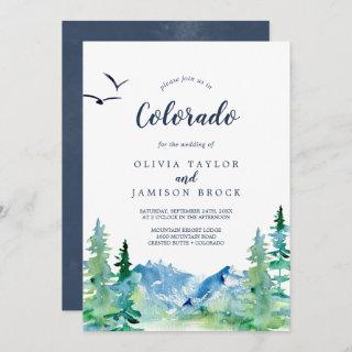 Rocky Mountain Colorado Destination Wedding Invitations