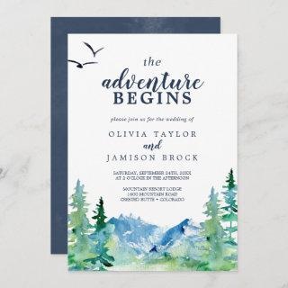 Rocky Mountain The Adventure Begins Wedding Invitations
