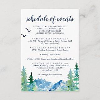 Rocky Mountain Wedding Weekend Schedule of Events Enclosure Card