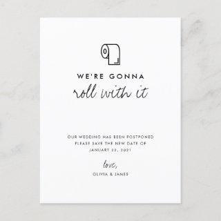 Roll With It Change the Date Wedding Postponement Announcement Postcard