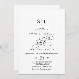 Romantic Black Calligraphy All In One Wedding
