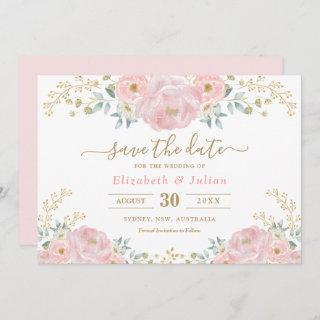 Romantic Bloom Soft Pink Gold Floral Save the Date Invitations