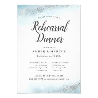 Romantic Blue Ombre Wedding Rehearsal Dinner Invitations