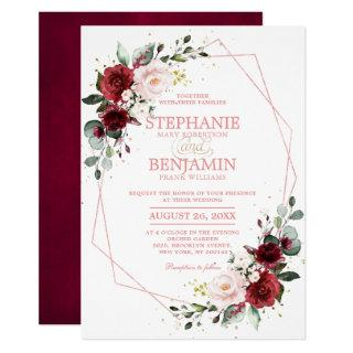 Romantic Burgundy Blush Floral Rose Gold Geometric Invitation