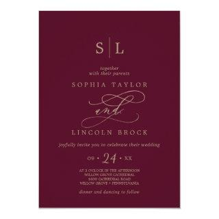 Romantic Burgundy Calligraphy Monogram Wedding Invitations