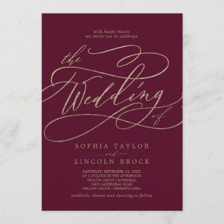 Romantic Burgundy Calligraphy The Wedding Of Invitations