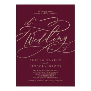 Romantic Burgundy Calligraphy The Wedding Of Invitation