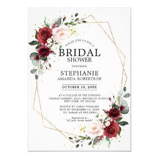 Romantic Burgundy Floral Geometric Bridal Shower Invitation