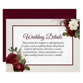 Romantic Burgundy Floral Wedding Reception Details Invitations