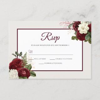Romantic Burgundy Floral Wedding RSVP