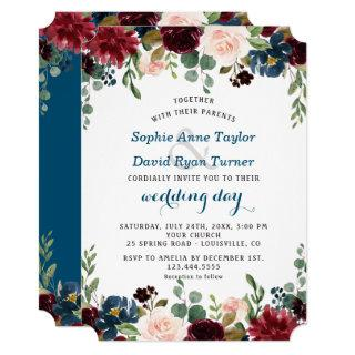 Romantic Burgundy Navy Blue Blush Floral Wedding Invitations