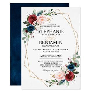 Romantic Burgundy Navy Blue Floral Geometric Invitations