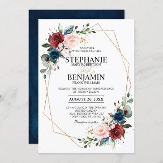 Romantic Burgundy Navy Blue Floral Geometric Invitation