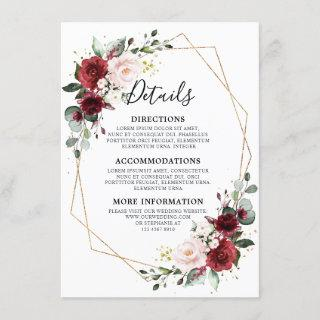 Romantic Burgundy Red Floral Geometric Wedding Enclosure Card